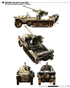 Sd.Kfz.10 mit 5 cm Pak 38: Specifications: Type: Tank Destroyer. Crew: 7. Engine Maybach HL 42TURKM, 100 hp 6 cyl.Gasoline. Dimensions:Length:4.75m/Width: 1.93-2.15 m/ Height: 2m. Weight: 5500kg Armour: 8mm. Performance: MaxSpeed: 65kph. Power/weight: 18.2 hp/t. Range: 285km Suspension: Torsion Bars. Armament. Main: 50mm Pak.38 L/60.
