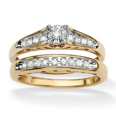 @Overstock - Diamond wedding ring set18-karat gold over sterling silver jewelryClick here for ring sizing guidehttp://www.overstock.com/Jewelry-Watches/Isabella-Collection-18k-Gold-over-Silver-Diamond-Bridal-Set/7377964/product.html?CID=214117 $149.99