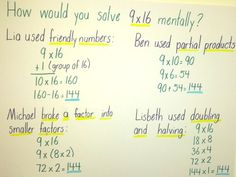 Multiplication Number Talk Chart - finally, an example of someone who does math like I do...ks
