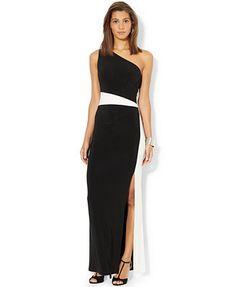 Lauren Ralph Lauren One-Shoulder Colorblocked Gown