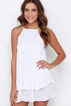 Ivory Dress - Sleeveless Dress - White Dress - Apron Dress - $41.00