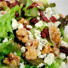 "Missy's Candied Walnut Gorgonzola Salad | ""A yummy, easy salad with candied walnuts, cranberries, Gorgonzola cheese, mixed greens, and a raspberry vinaigrette."""
