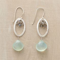 """INTO THE BLUES EARRINGS--Infinite ovals of brushed sterling suspend labradorite clusters at one end, large lake-blue chalcedony briolettes at the other. Silver wires. Handmade in the USA. Approx. 2-1/4""""L."""