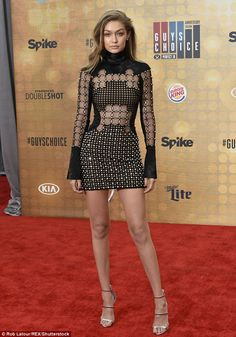 Gigi Hadid flashes long legs in see-through mini dress at Guys Choice Awards | Daily Mail Online