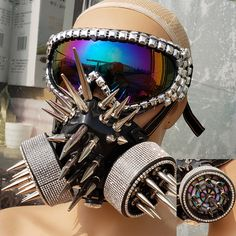 Burning Man Studded Spike Streampunk Goggles Gas Face Mask Dancer Costumes Show Festival Rave Outfits Gear Halloween Burning Man Outfits, Mouth Mask Fashion, Fashion Mask, Mens Fashion, Music Festival Fashion, Festival Outfits, Gas Face, Vintage Helmet, Jean Outfits