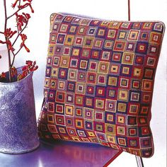 By Candace Bahouth x 35 cm x 35 cm 10 holes to the inch Ehrman wools Cross Stitching, Cross Stitch Embroidery, Embroidery Patterns, Needlepoint Designs, Needlepoint Kits, Cross Stitch Designs, Cross Stitch Patterns, Cross Stitch Geometric, Tapestry Kits