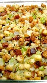 Old Fashioned Bread and Celery Dressing or Stuffing Recipe ~ Says: Traditional moist dressing, baked outside of the bird. I make this when I am cooking a turkey breast without the cavity.