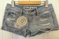 Hand Distressed denim shorts with lace details made by moi!