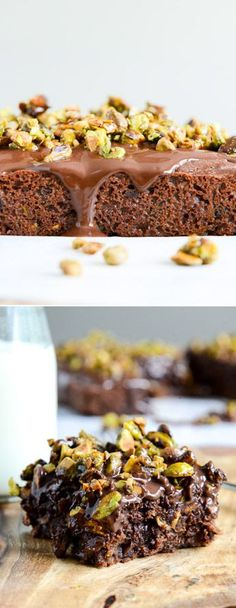 Chocolate Fudge Zucchini Snack Cake with Candied Pistachios I howsweeteats.com