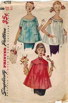 Simplicity 4718 Vintage Sewing Pattern Misses Maternity Tops Size 12 Bust Size 14 Bust 32 Vintage Dress Patterns, Vintage 1950s Dresses, Vintage Outfits, Vintage Fashion, 1950s Fashion, Vintage Clothing, Fashion Fashion, Vintage Items, Maternity Jacket