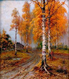 "Julius ""Golden Autumn"" Oil painting has unique character-like properties that speak to you in a different way from other art forms, or photography. Russian Landscape, Landscape Art, Landscape Paintings, Autumn Painting, Autumn Art, Tree Art, Belle Photo, Painting & Drawing, Scenery"