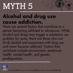 Myth 5 Alcohol and drug use cause addiction. visit our website to learn more about us www.myrehab.co.za