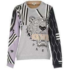 Kenzo Sweatshirt ($325) ❤ liked on Polyvore featuring tops, hoodies, sweatshirts, light grey, embroidered sweatshirts, long sleeve tops, kenzo sweatshirts, kenzo and patterned sweatshirt