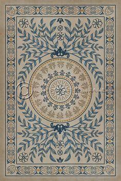 argine gold & scarlet vinyl floor cloth | vintage vinyl floor