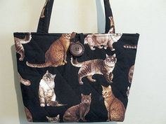 Quilted Cat Purse/Tote Cat Handbag