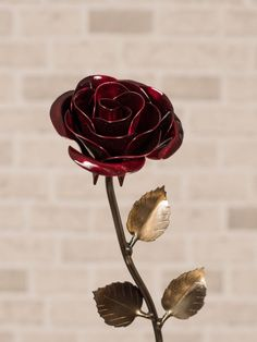 The colour red is associated with fire, blood, and passion. Our red metal rose will be an enduring symbol of true love that will long outlast fragile real roses. | hand forged wrought iron rose | wedding gift and wedding anniversary | gift for wife and mother | Blacksmith made | #alainsblacksmithshop