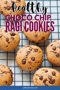 Easy Cookies made with Ragi or Nachni. - Healthy refined flour free,Refined Sugar Free & Eggless Finger Millet or Ragi Chocolate Chip Cookies. - These Eggless Ragi Cookies are perfect for kids as they are highly nutritious. Choco Chip Cookies, Healthy Chocolate Chip Cookies, Choco Chips, Healthy Cookies, Healthy Dishes, Healthy Dessert Recipes, Easy Desserts, Indian Food Recipes, Healthy Snacks