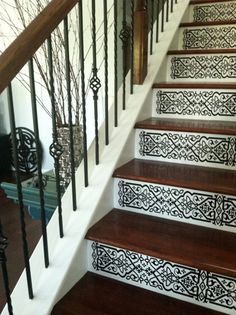 Staircase Riser Vinyl Decal Scroll Pattern  Removable Stair Decals look like painted stencils!