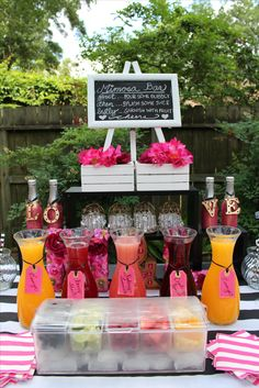 Kate Spade Theme Mimosa Wedding Drink Bar / www. Kate Spade Theme Mimosa Wedding Drink Bar / www. Drink Bar, Bar Drinks, Fruit Drinks, Beverages, Bridal Shower Party, Bridal Shower Decorations, Bridal Shower Drinks, Wedding Showers, Themed Bridal Showers