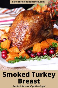 This smoked turkey breast is tender and juicy. This flavor breast is the perfect answer to Thanksgiving when not cooking for a large crowd. Mexican Dinner Recipes, Beef Recipes For Dinner, Instant Pot Dinner Recipes, Dinner Casserole Recipes, Roast Dinner, Smoked Turkey, Seafood Dinner, Turkey Breast, Thanksgiving Feast