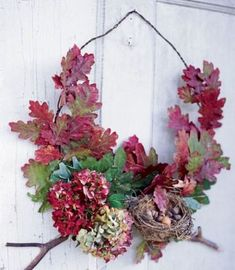 This fall wreath can be adapted for a variety of leaves and blooms. Use dried white oak leaves, fresh hydrangea, and small branches. Materials required: barbed wire, floral wire or tape, wire cutter. A glue gun is also a good tool to have on hand. Diy Fall Wreath, Autumn Wreaths, Wreath Crafts, Wreath Ideas, White Oak Leaf, Branch Decor, Autumn Decorating, Laurel Wreath, Door Wreaths
