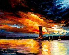 Paintings by Leonid Afremov Lighthouse | Leonid afremov before storm
