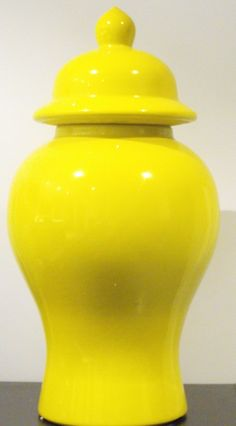 Very Large Ginger Jar, Hand painted porcelain. Place on a buffet for a strinking display.     Size: 54cm High x 30cm Wide.    DESIGNER'S NOTE: A striking Bright yellow vase in a classic shape. Use as a pair on a fireplace mantle, a console or a cabinet. They can also be used succesfully on the floor, under a console table, or alone as the perfect accessory. Really with this piece you can't go wrong!