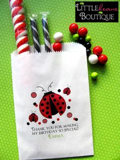 Ladybug Birthday party Personalized Candy by LittlebeaneBoutique, $21.95