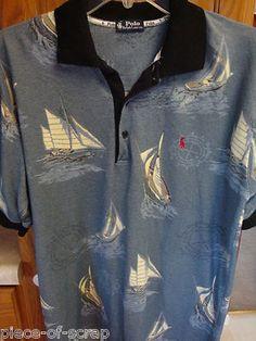 RALPH LAUREN POLO Mens Short Sleeve Golf shirt Sailboats Boats Blue Short Sleeve #RalphLauren #Polo