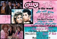 Grease 50s fifties sock hop dance birthday party invitation set of 8 grease inspired birthday invitations by monichicbowtique stopboris Image collections