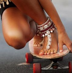 beautiful shell anklet sandals.