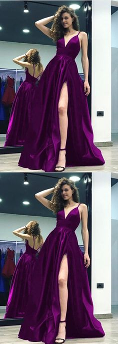 Grape Satin V-neck Prom Long #dresses Leg Split Evening Gowns With Straps this could also be amazing in red