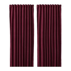 IKEA SANELA Room darkening curtains, 1 pair Dark red 140 x 250 cm The thick curtains darken the room and provide privacy by preventing people outside from seeing into the room. Red Curtains Ikea, Thick Curtains, Sheer Curtain Panels, Velvet Curtains, Room Darkening Curtains, Grommet Curtains, Curtains With Blinds, Blackout Curtains, Panel Curtains