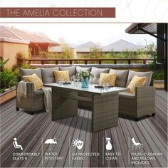 MOD Amelia 3-Piece Wicker Outdoor Sectional Set with Gray Cushions-AML3PC-GRY - The Home Depot Mod Furniture, Outdoor Furniture Sets, Outdoor Decor, Deck Furniture Layout, Indoor Outdoor, Coffee Table To Dining Table, Lounge Party, Grey Cushions, Modular Sofa