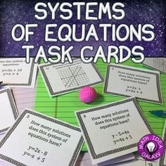 Systems of Equations Task Cards is a set of 27 task cards about how many solutions and solving systems of linear equations. Great for a variety of engaging activities or games for the whole class. Perfect for math centers, stations, and partner practice. Also helps to differentiate practice for students with increasing rigor throughout the problems.Supports CCSS 8.EE.C.8 Junior High Math, Linear System, Systems Of Equations, Maths Algebra, Teaching Math, Teaching Tools, Teaching Ideas, Secondary Math, 8th Grade Math