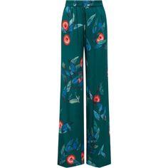 Alena Akhmadullina     Silk Pants ($715) ❤ liked on Polyvore featuring pants, green, blue silk pants, alena akhmadullina, straight leg trousers, blue trousers and silk pants