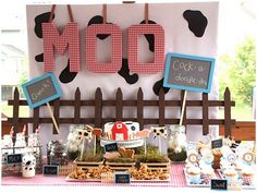 Barnyard Party. Great inspiration for my Cow themed party.