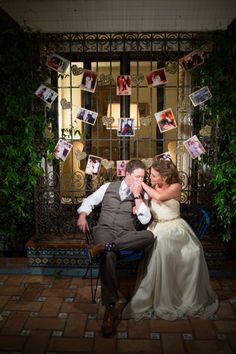 Sweet bride & groom share an intimate moment in the Andalusian Patio at Darlington House in La Jolla, CA.  (France Photographers)