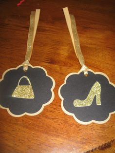 2 High heel shoe and purse favor tag 40th or by welcometomystore, $3.00