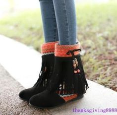 Women'S Vintage Bead Tassel Ethnic Shoes Hidden Wedge Heel Ankle Fringes Boots