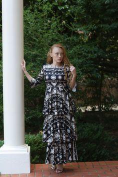 Modest black and white Versailles ruffle dress. Modest fashion, bridesmaid dresses, ruffles, lace. www.daintyjewells.com
