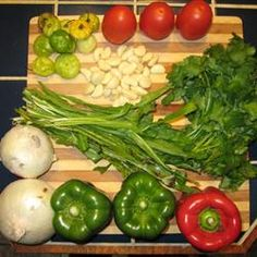 Sofrito Recipe - This is the base for most Puerto Rican dishes - just add it to season and spice beans, stews, rice dishes and picadillo, etc.  Freeze this mixture in ice trays, then store in freezer bags to have on hand for recipes.