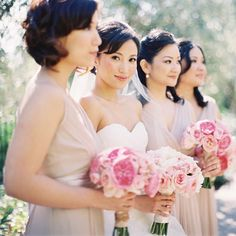 """Brides.com: A Romantic, Mission-Style Wedding in Santa Clara, California. When the women discovered Saja Wedding, they found floor-length creme-colored dresses that gave each bridesmaid a """"flowy, airy, ethereal-goddess look,"""" Mirna says."""