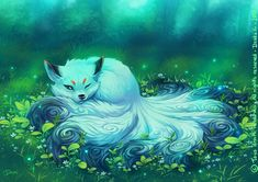 anime animals White Kitsune by on DeviantArt Cute Fantasy Creatures, Mythical Creatures Art, Mystical Animals, Mythological Creatures, Magical Creatures, Beautiful Creatures, Fox Fantasy, Fantasy Beasts, Fantasy Kunst
