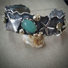 #silver #handmade #roberteskici # cuff # starfish# kalsedon #stingrey