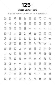 125 Media Icons by creativestall Today we bring you an awesome set of outline media icons pack. All icons are unique and versatile and you can easily edit them. Free Icons Png, Vector Icons, Book Design, Web Design, Graphic Design, Instagram Emoji, Element Symbols, School Icon, Simple Doodles