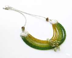 Secret Garden Necklace - Green Yellow Omble Bib Multistrand Seed Beaded - Chunky Collar Statement Necklace by VicAustenStudio