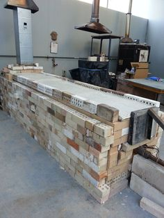 """The kiln Cher Shackleton built for Chester Nealie for POTober 2014, Australia  Looks like a gas/wood-fire hybrid. Cher reported on the one (and only) firing:  """"it was a bit oxidised. Cone 8,9,10 down at the front and 8,9 and almost 10at the back. We had to gas overnight,wood started at 8am till 8 pm."""" Wood Kiln, Pottery Kiln, Native American Pottery, Shape And Form, Handmade Pottery, Firewood, Design Elements, Ovens, Pottery Ideas"""