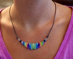 Rainbow Statement Curved Bar Necklace Polymer clay The necklace lightweight & easy to wear made on a leather cord. Polymer Clay Necklace, Polymer Clay Crafts, Polymer Clay Earrings, Leather Jewelry, Leather Cord, Rainbow Choker, Jumping Clay, Fused Glass Jewelry, Bijoux Diy