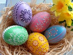 Stylishly Painted Plastic Easter Eggs
